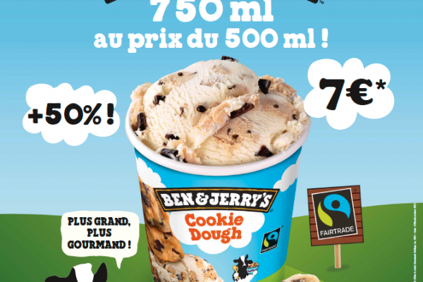 Ben and Jerry's : 750 ml au prix du 500 ml