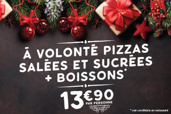 Pizzas salées et sucrées à volonté + boisson 13,90€