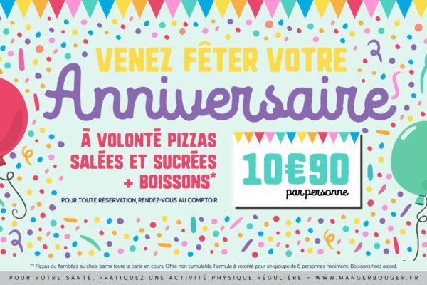 Offre anniversaire à 10,90€ par personne
