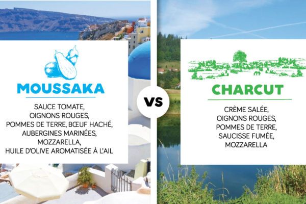Combat pizzas : vote pour ta pizza MOUSSAKA VS CHARCUT